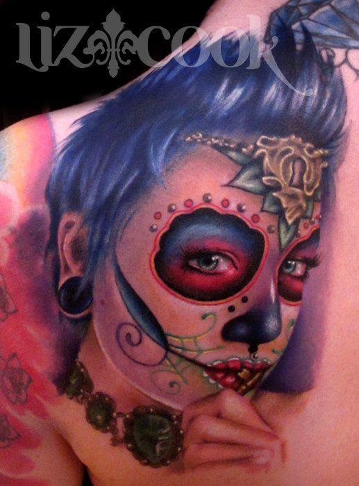 Sugar Skull tattoo by Liz Cook