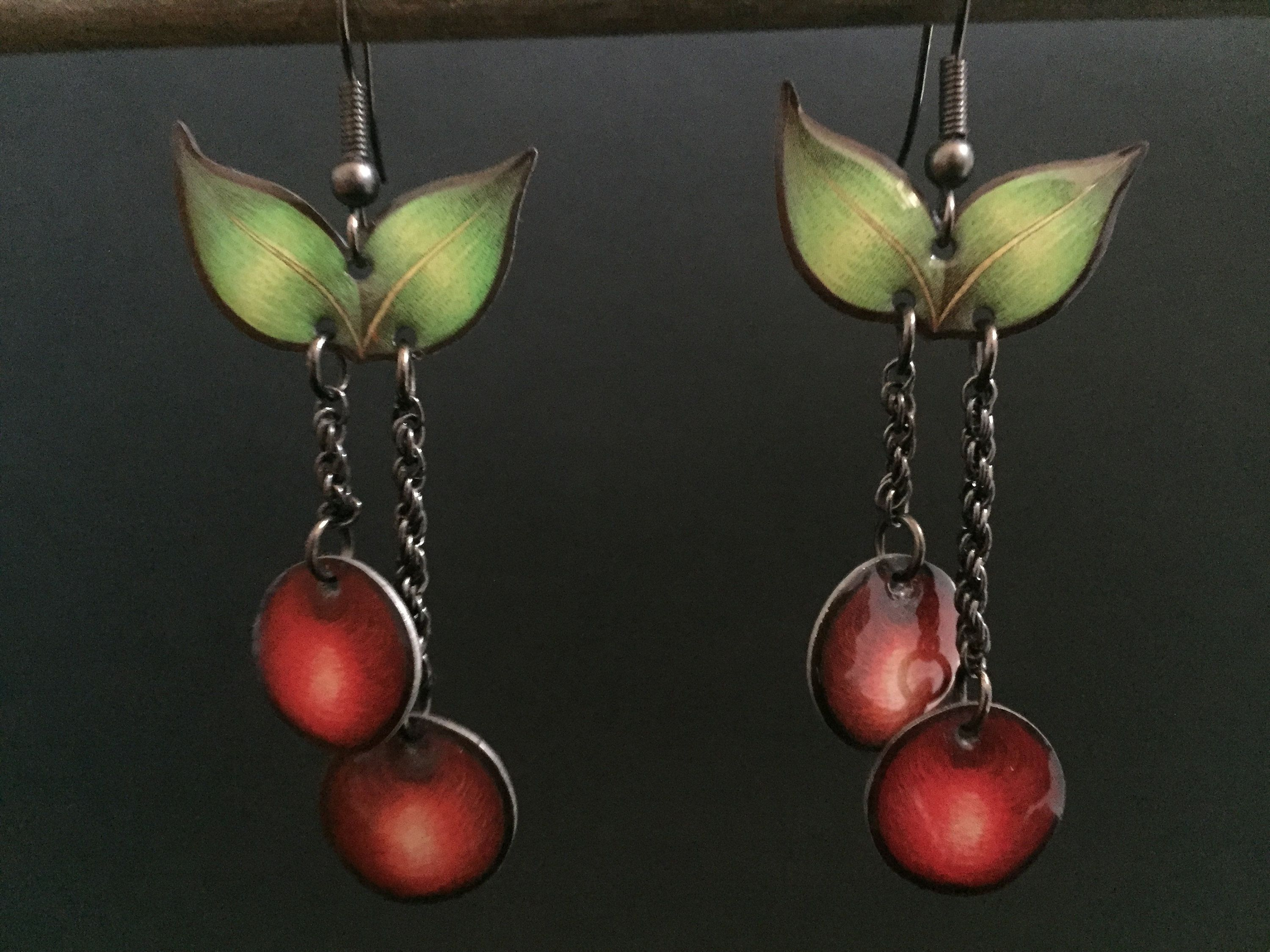 Red Green Cherry style chandelier enamel red green fish