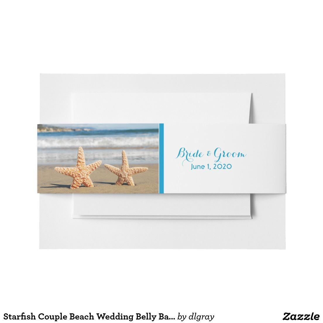 Starfish Couple Beach Wedding Belly Bands Invitation Belly Band
