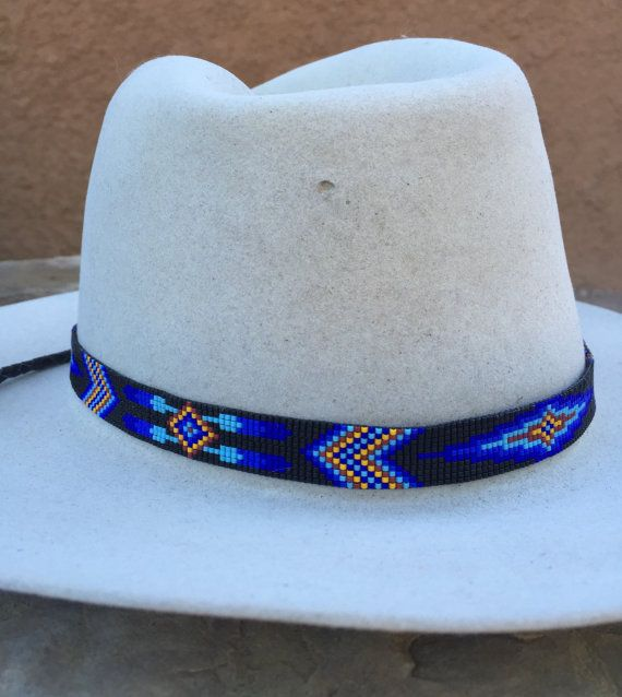 ac99deedcd06f4 This Beaded Geometric Design Hatband is Handmade by the Artist with great  love and patience. The design is inspired by Native American Beadwork.