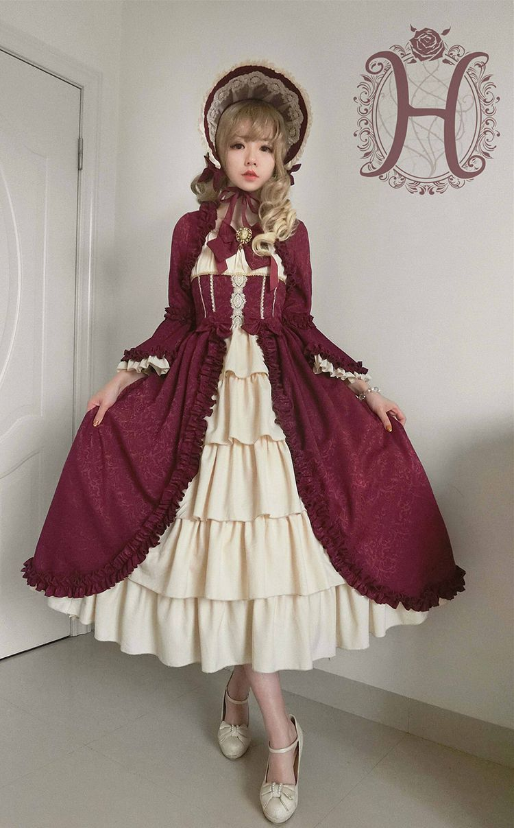 Henrietta -Antique Victorian Doll- Vintage Classic Lolita OP Dress (Long Version)  black beige red #victoriandolls Henrietta -Antique Victorian Doll- Vintage Classic Lolita OP Dress (Long Version)  black beige red #victoriandolls