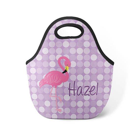 36cb46ac720a Flamingo Lunch Tote - Pink Flamingo Lunch Bag, Purple Polka Dots ...