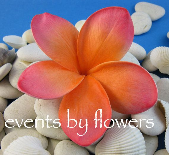 Real Touch Frangipani Plumeria Coral orange pink Artificial