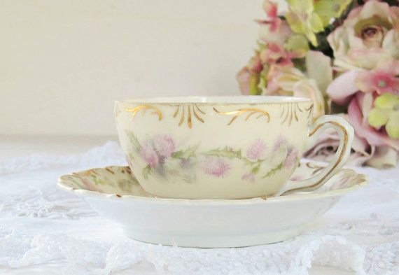 Antique Old Ivory Espresso Small Tea Cup and by RosebudsOriginals