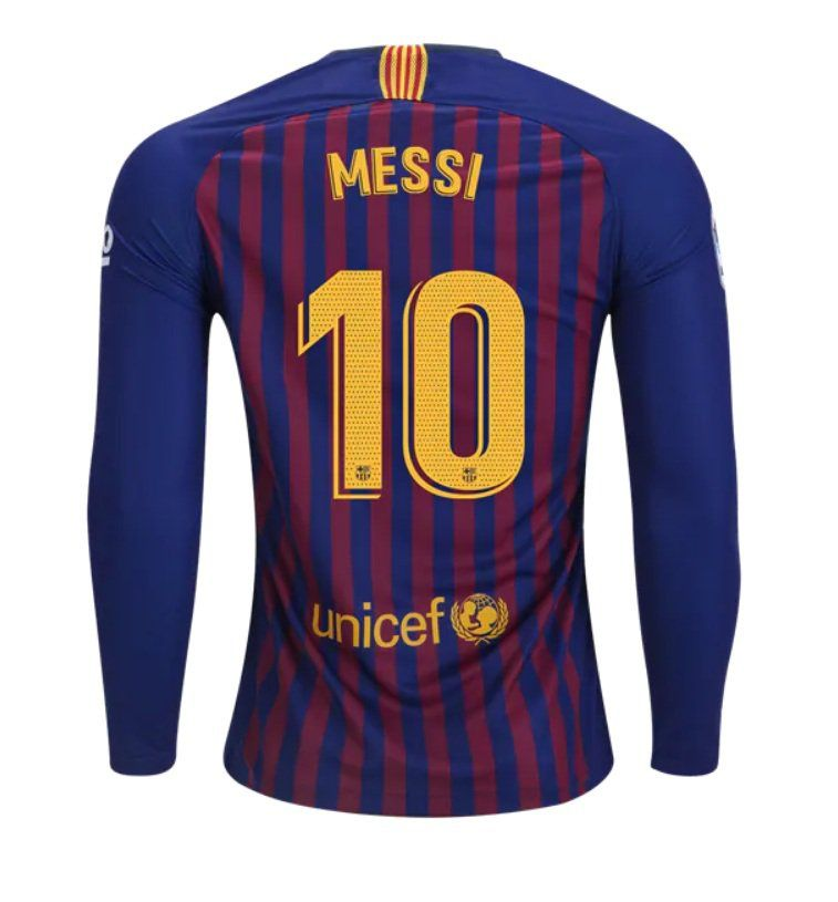 88c4f4f354 FAN+SHIRT+Messi+ 10+FC+Barcelona+Jersey++Long+Sleeve+2018-2019 +Home+Free+Shipping