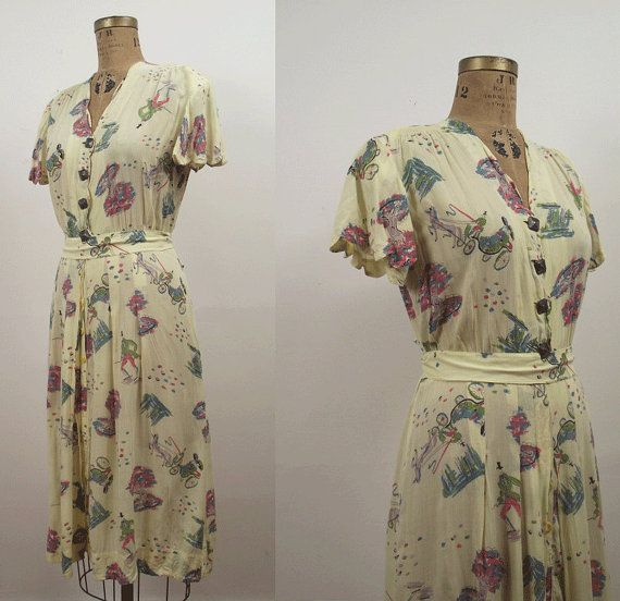 1930s Novelty Print Dress / 30s  Cotton Day by FemaleHysteria, $240.00
