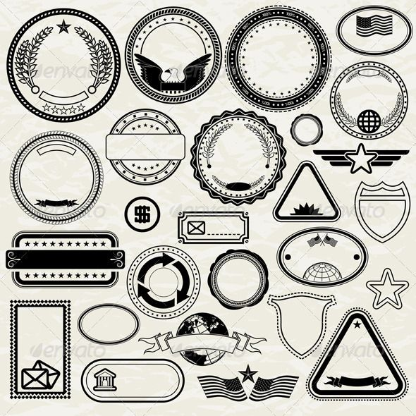 Set of Various Stamp Designs Fontslogosicons Vector