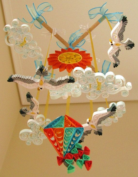 Crib Mobile  Seagulls Mobile  Quilled Sun Mobile  by tsipouritsa