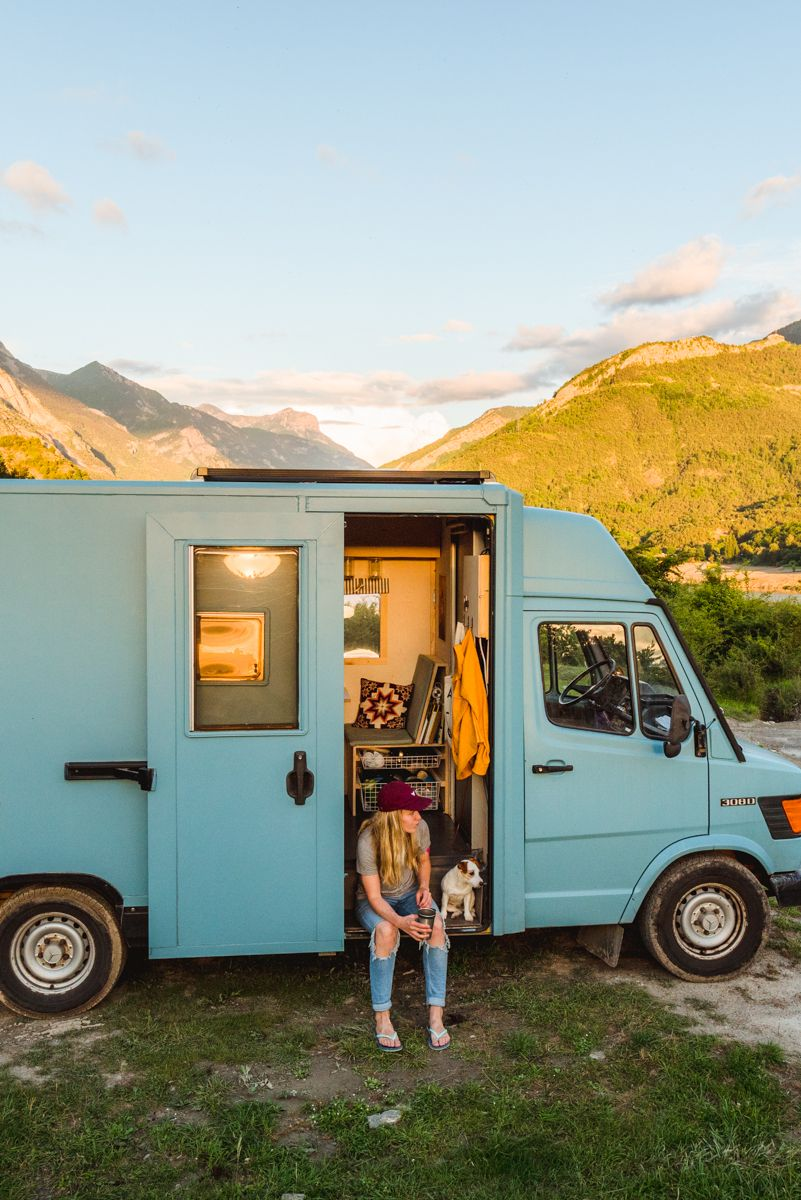 86b9da7900 Blue Scandinavian style camper van. Mercedes 308D Post van from Germany.  JRT puppy vanlife