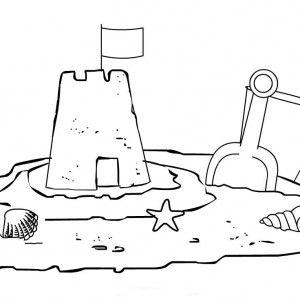 Kids Sand Castle Coloring Page   Ocean/Beach/Boardwalk Week 6/2-6 ...