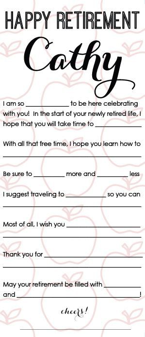 Happy Retirement Mad Libs Printable Customized By Breezysteph