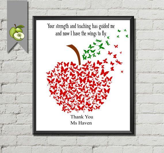 editable Butterfly Teacher apple Appreciation gift, gave ...