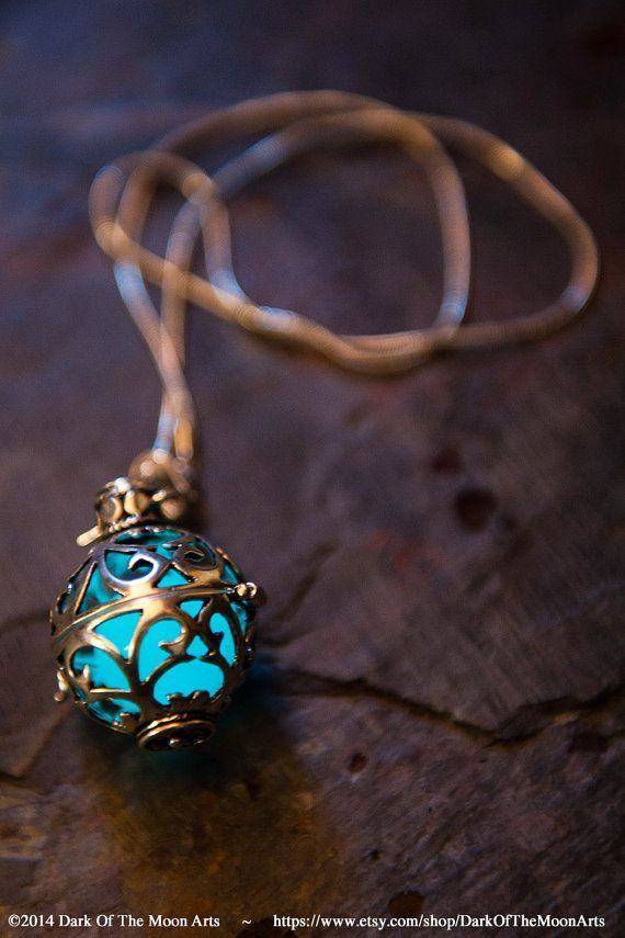 Silver Filigree Glow Pendant ~ Glowing Steampunk Gothic Locket Necklace  With LED or Glow In The Dark UV Resin Orb