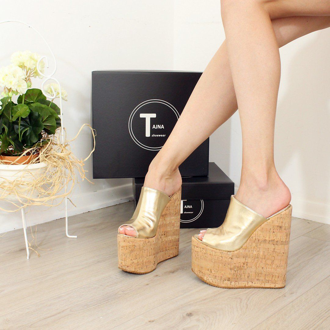 d209b09f4af1 Peep Toe Gold Platform Heel Wedge Mules – Tajna Club