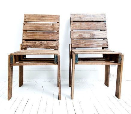 Chairs made from a pallett.  I'm envisioning these at the head of a 12 foot picnic table with benches also made from palletts.
