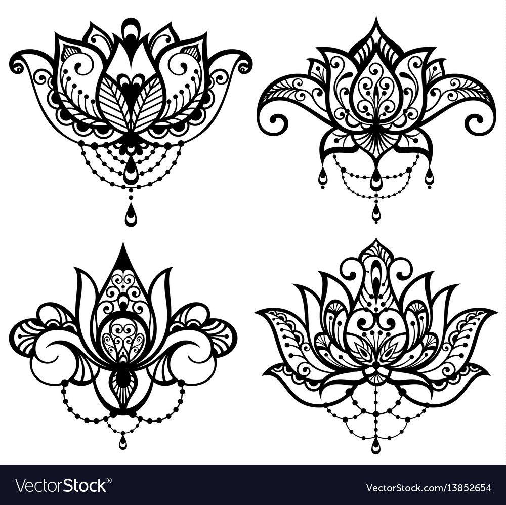 Lotus tattoo set vector image on Lotus flower tattoo