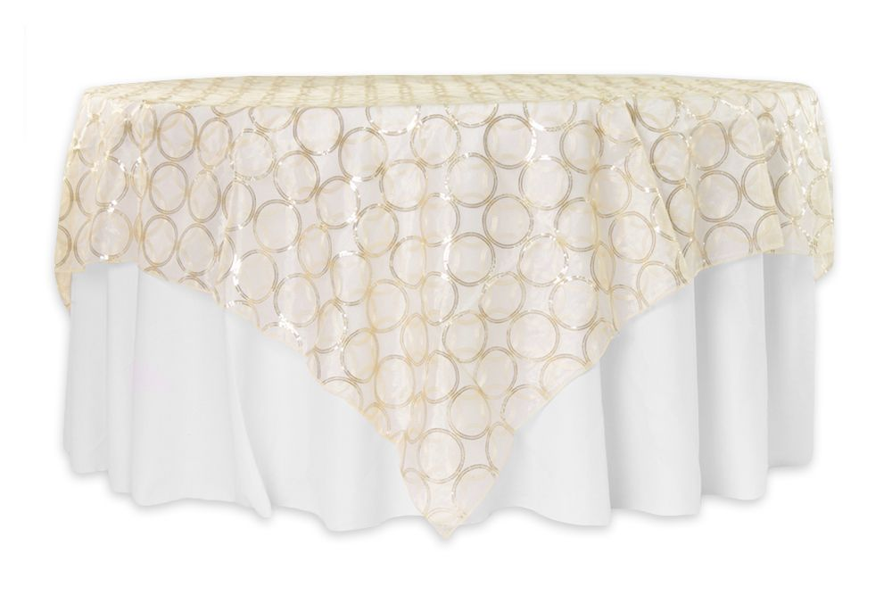 Circle Sequin Table Overlay 85 X85 Square Bright Gold 21 99