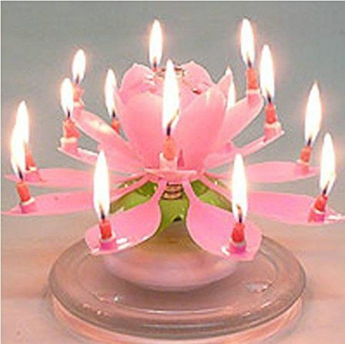 MazaaShop Amazing Lotus Flower Happy Birthday Candle Lights Up