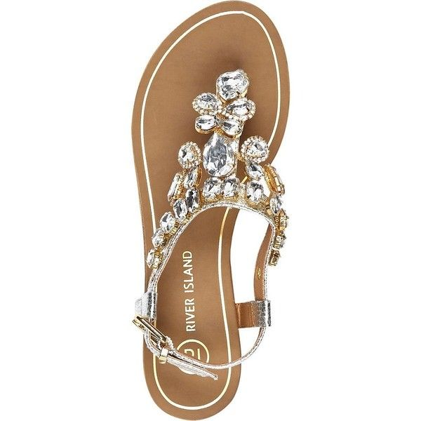d7fb7a0a3d366a River Island Silver gemstone embellished sandals ( 70) ❤ liked on Polyvore  featuring shoes