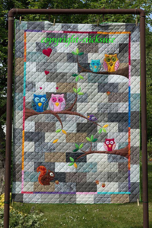 Eulen-Quilt  owl, quilt, handquilting, applique, squirrel, patchwork