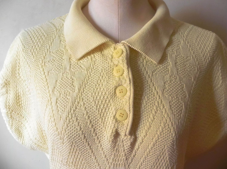 fa483464bd5 Vintage 80s Yellow Knit Benetton Collar Short Sleeve Sweater Dress by  IllPreparedVintage on Etsy