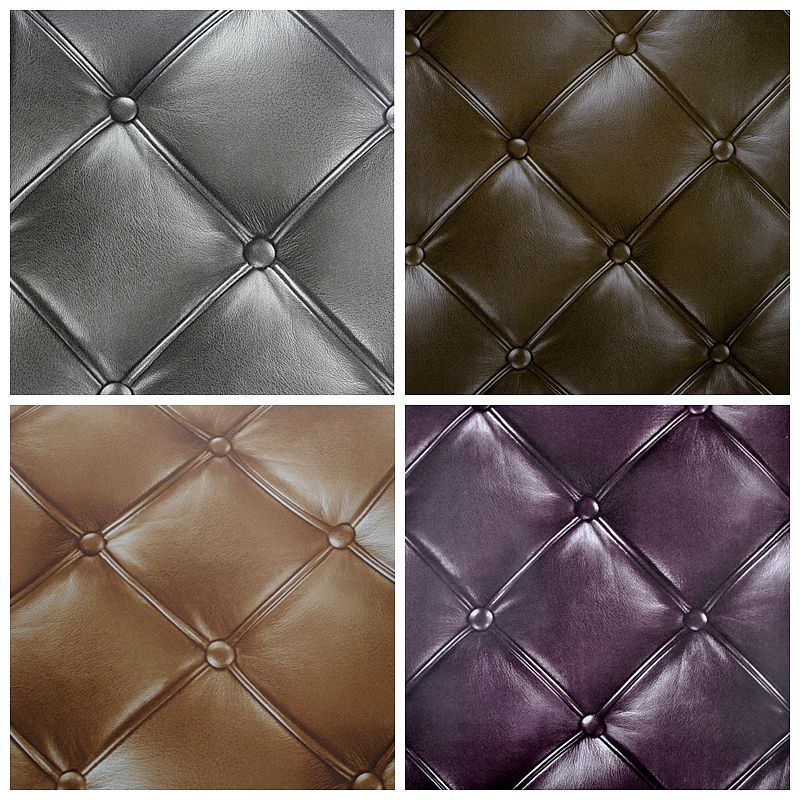 Studded Effect Luxury Waterproof Faux Leather Wallpaper 3D Roll For HotelBarRoom