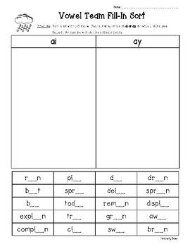 Ai And Ay Vowel Team Fill In Sort Word Sorts Phonics Worksheets