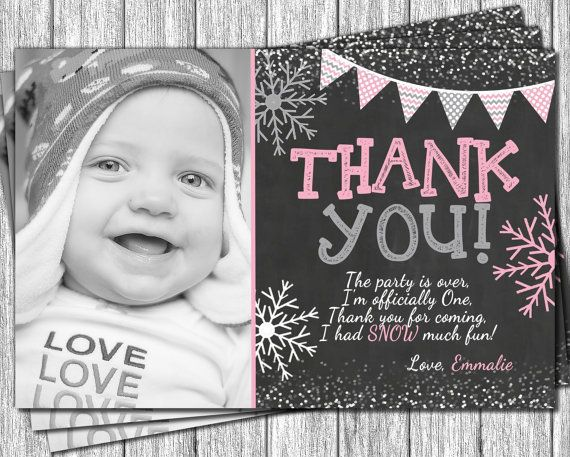 Winter Onederland Thank You Card Personalized Snowflake Thank You