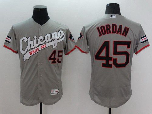 fd88c61aee7 Men s Chicago White Sox  45 Michael Jordan Retired Gray Retro 2016 Flexbase  Majestic Baseball Jersey
