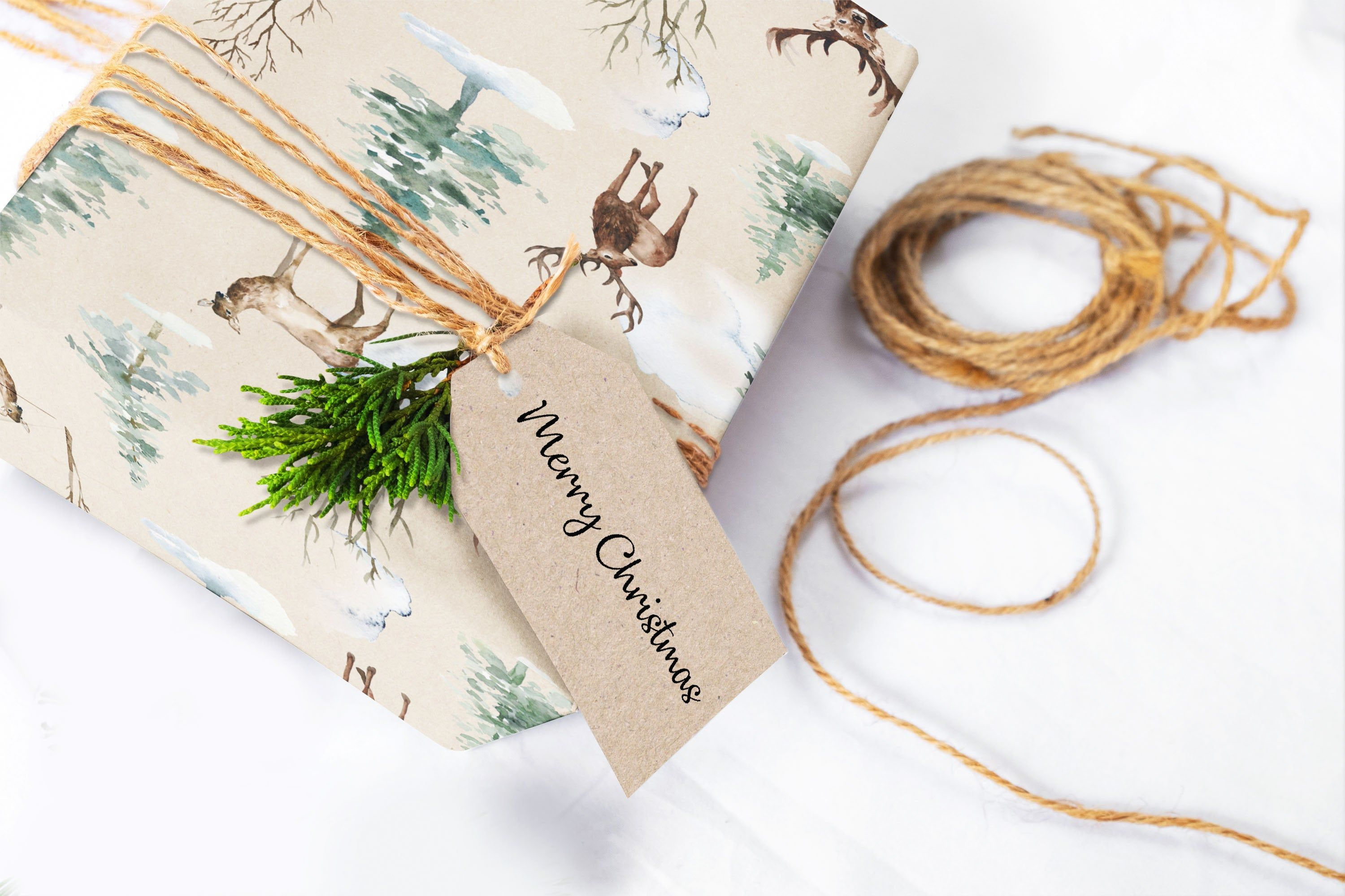 Christmas wrapping paper sheets woodland deer wrapping