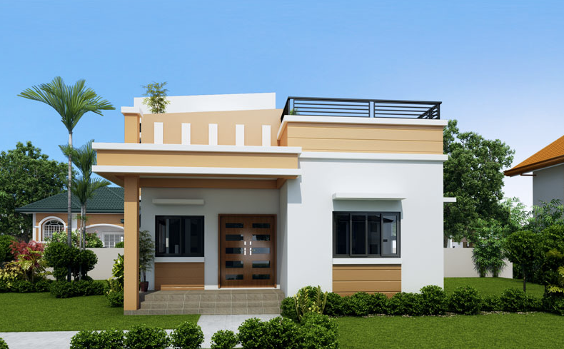 One Storey House With Roof Deck Modern Bungalow House House Roof Design Small House Design