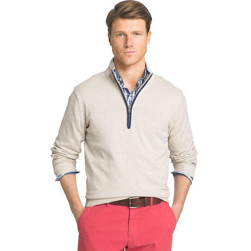 Men's IZOD Classic-Fit 12gg Solid Quarter-Zip Pullover Sweater, Size: Medium, Med Beige
