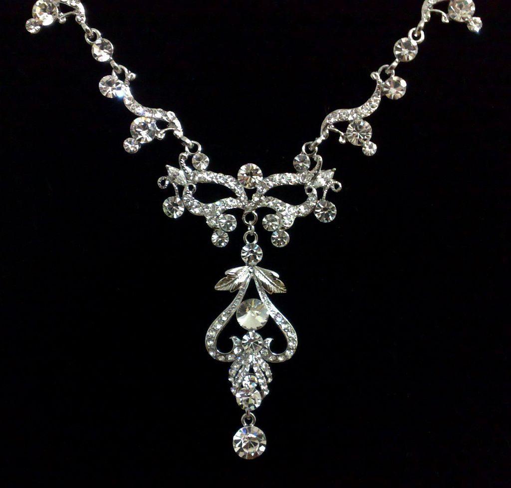Art nouveau bridal necklace swarovski crystal wedding jewelry nova