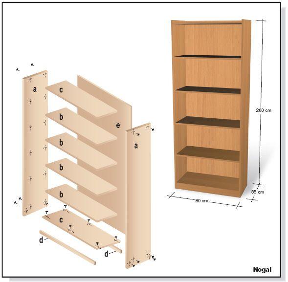 Plano muebles en melamina estante biblioteca proyecto 1 for Proyecto de muebles de madera