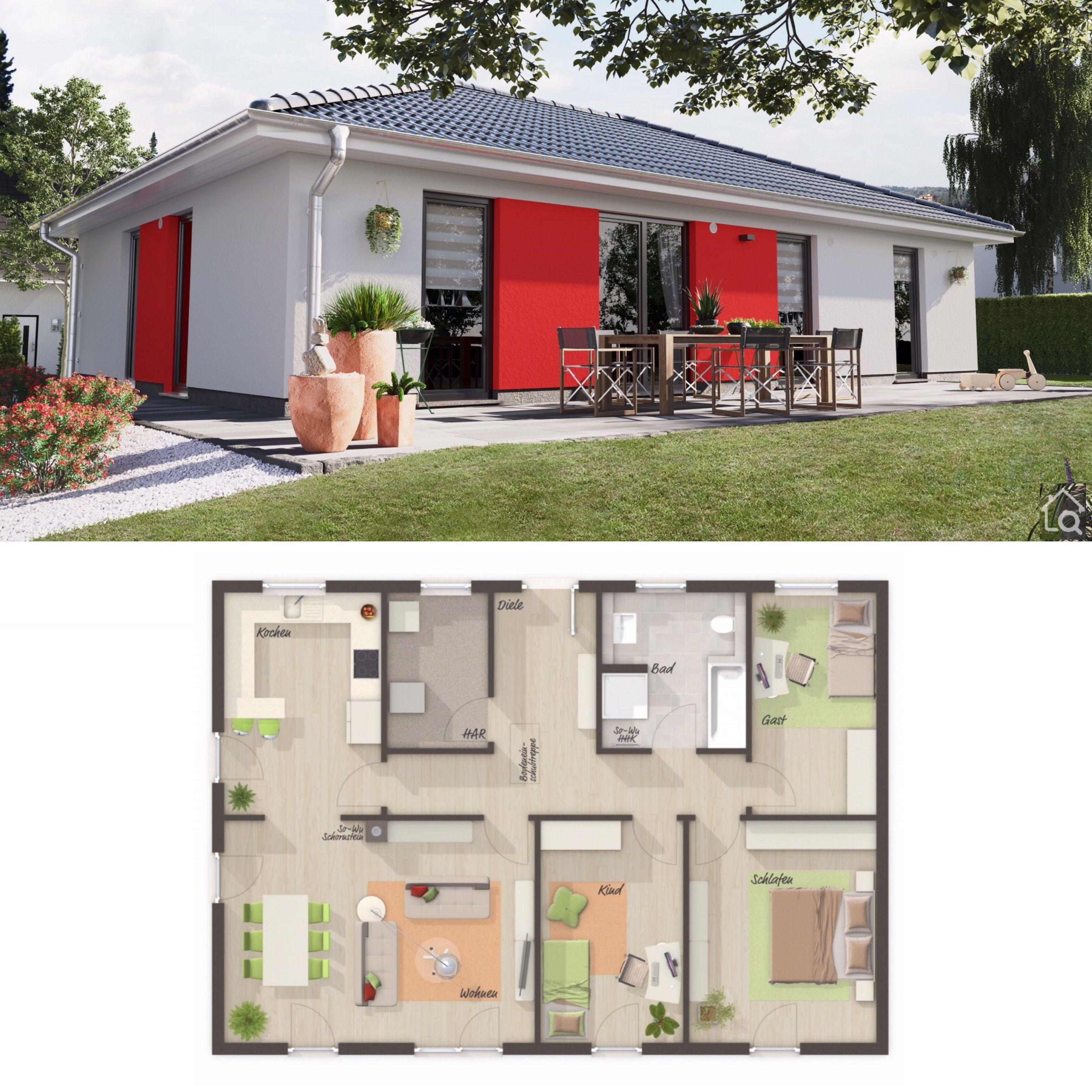 Bungalow Haus modern mit Walmdach & 4 Zimmer Grundriss
