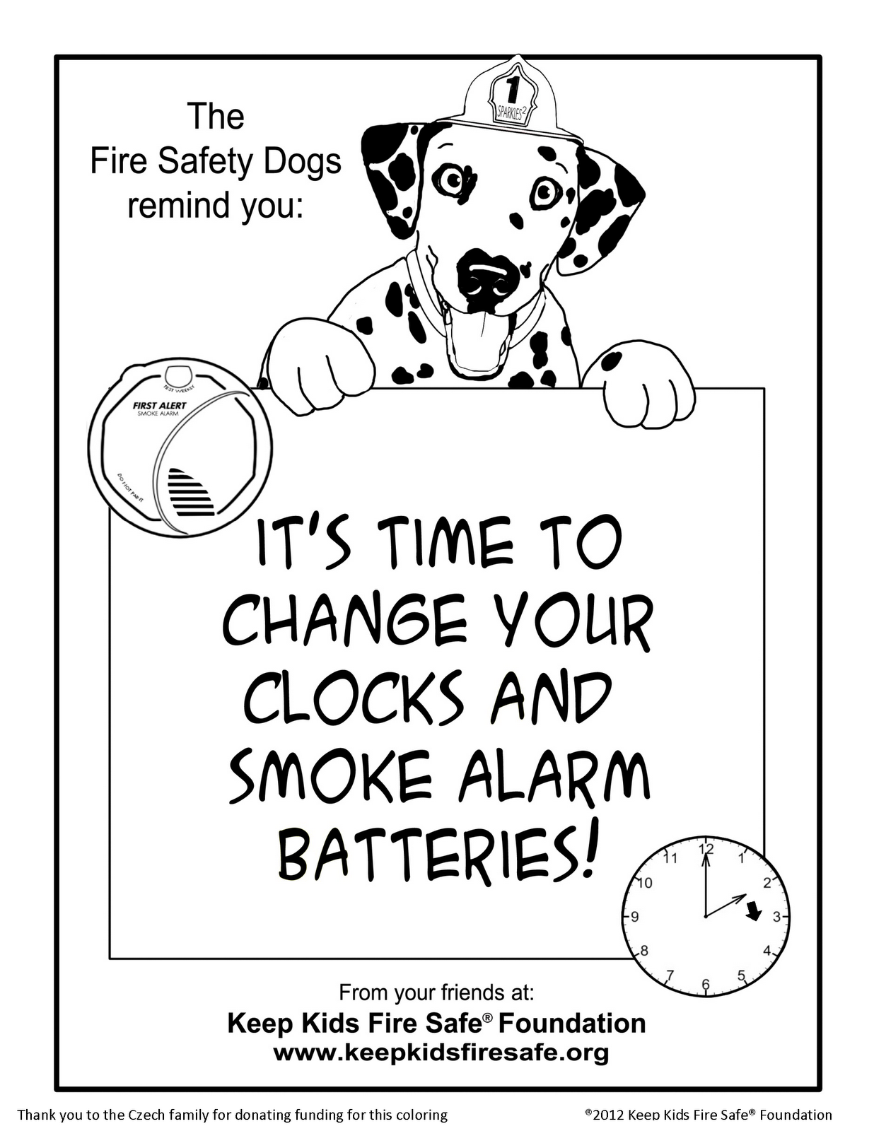 Sparkles the fire safety dog new coloring page it's time to change your clocks and smoke alarm batteries