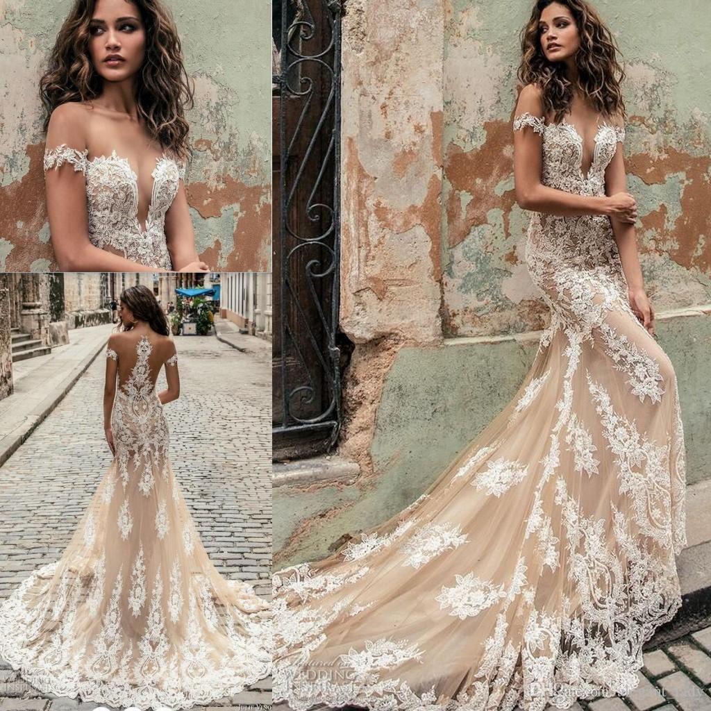 Julie Vino Champagne White Mermaid Wedding Dresses 2018 Modest Off