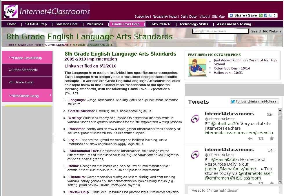 kindergarten language arts standards