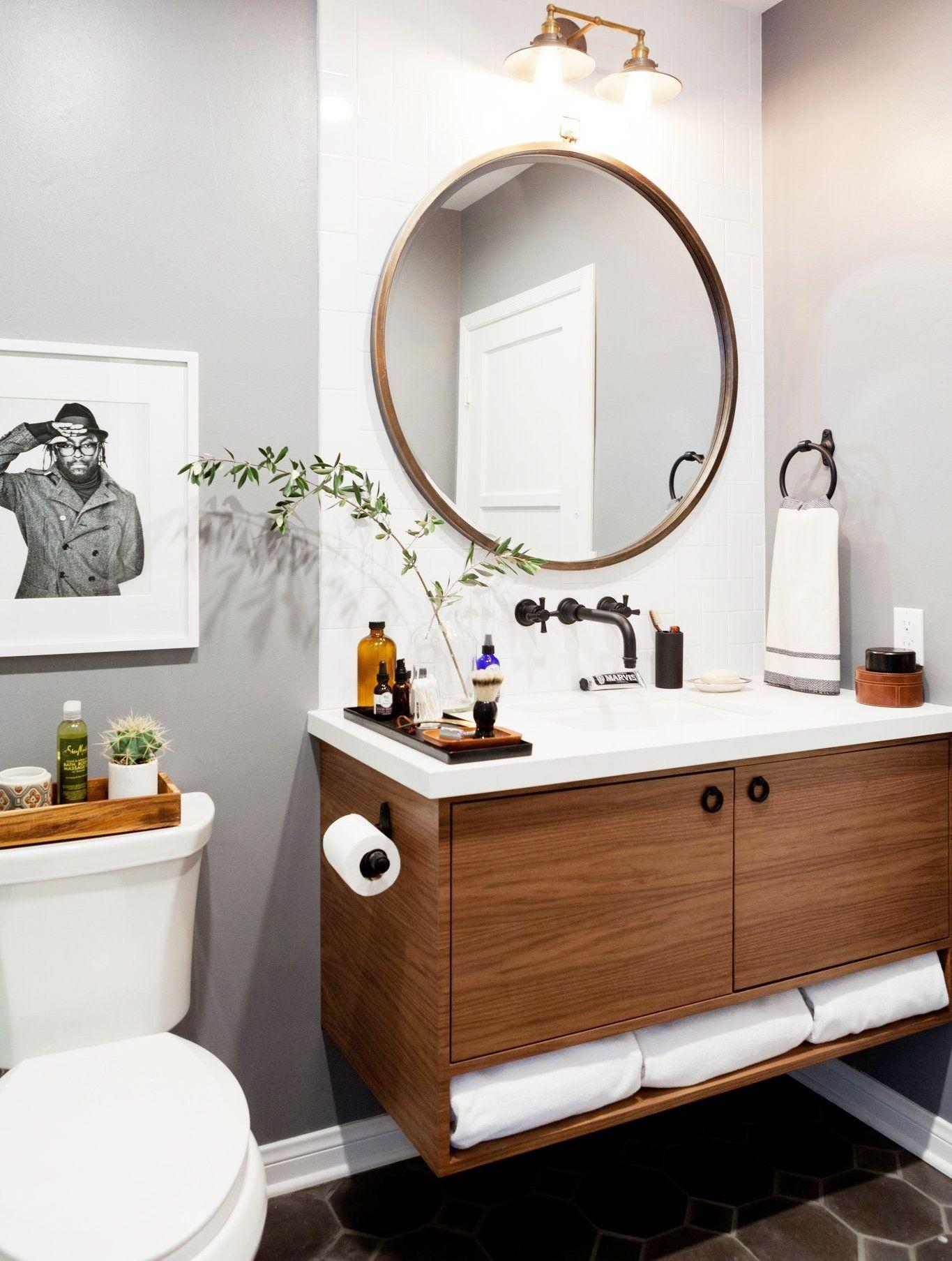 27 Elegant White Bathroom Ideas To Inspire Your Home Round Mirror Bathroom Bathroom Mirror Cabinet Trendy Bathroom