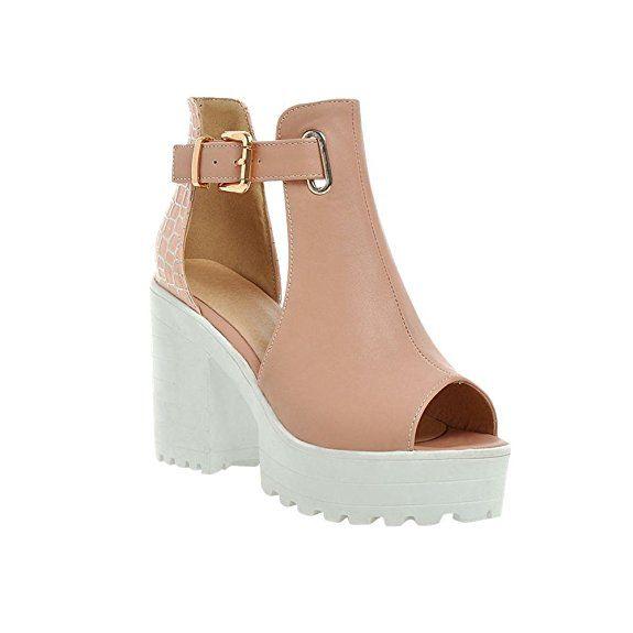 Mee Shoes Damen süß modern Peep toe Knöchelriemchen dicker Absatz Schnalle adjustable strap Blockabsatz Plateau Sandalen (39, Pink)