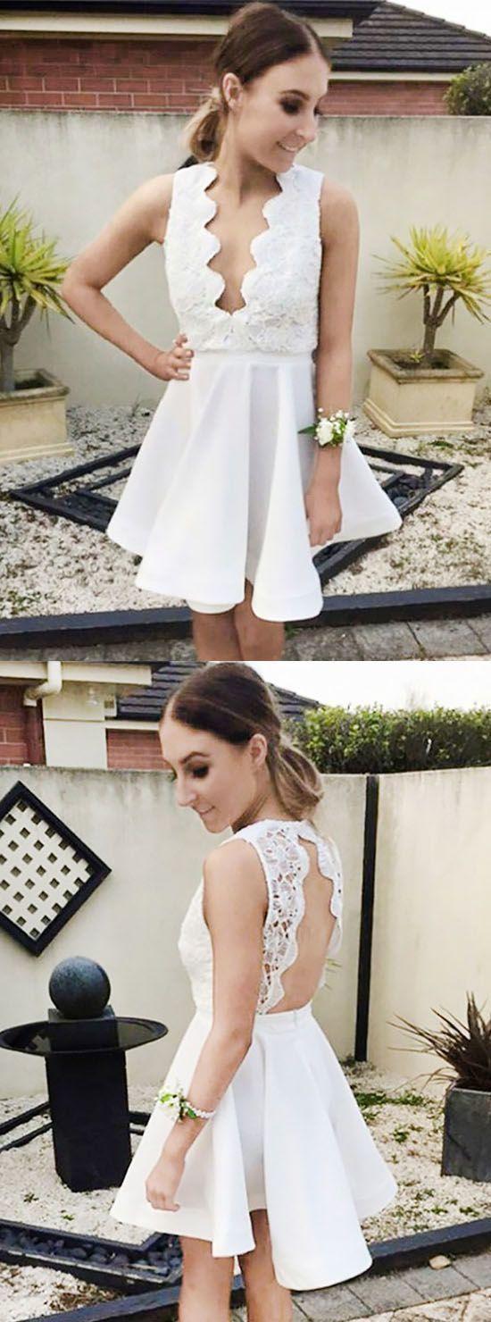 High fashion aline sleeveless open back white short homecoming