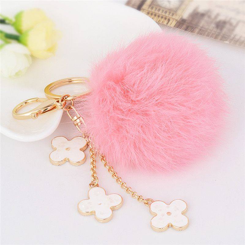 Fur Pom Pom Fluffy Fur Ball Keychain Rabbit Fur Four Leaf Clover