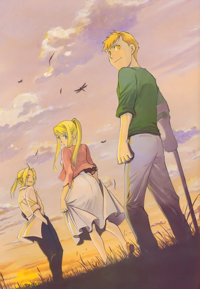 Ed, Winry & Al. Post battle, looking toward the future.