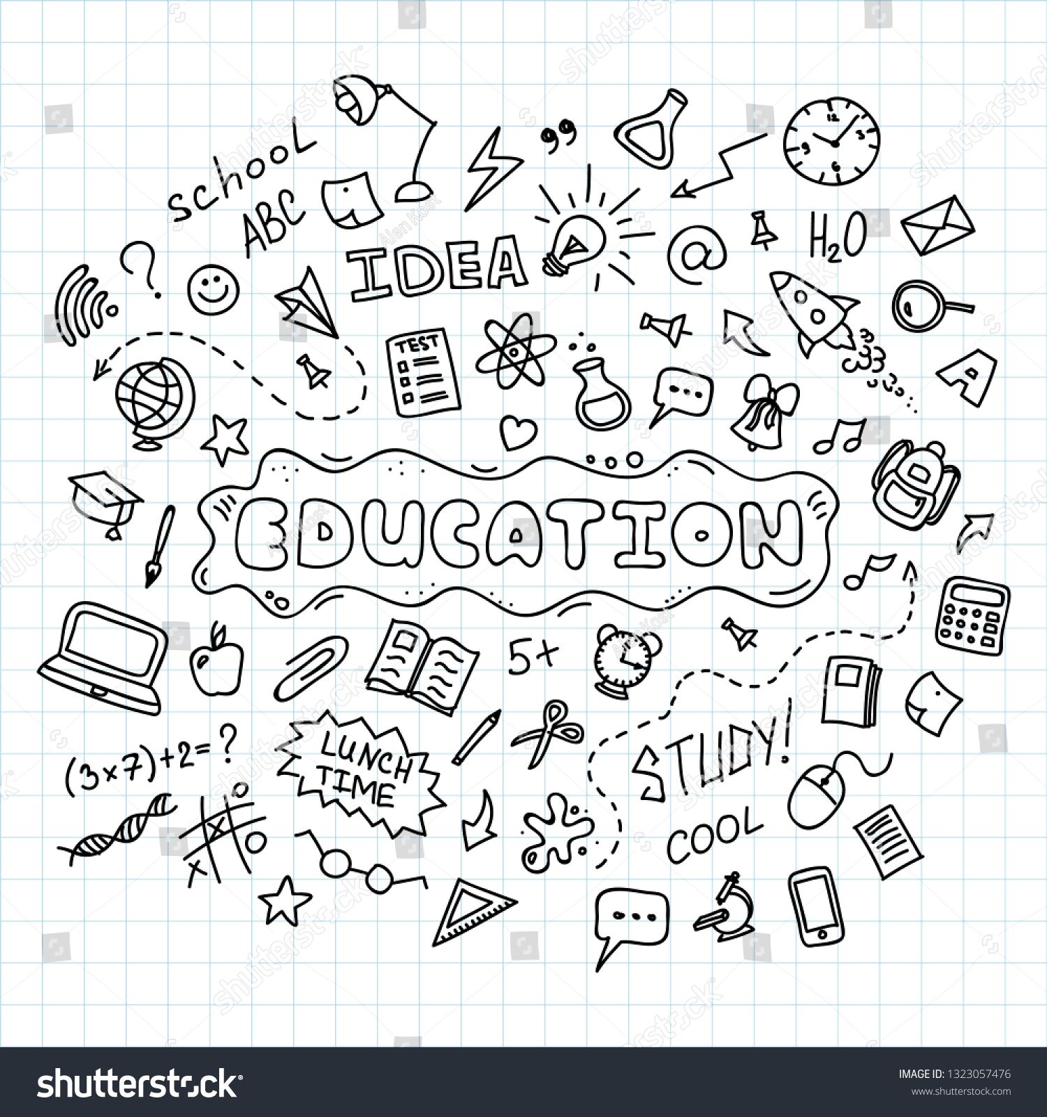 Education concept. Hand drawn school doodles icons set