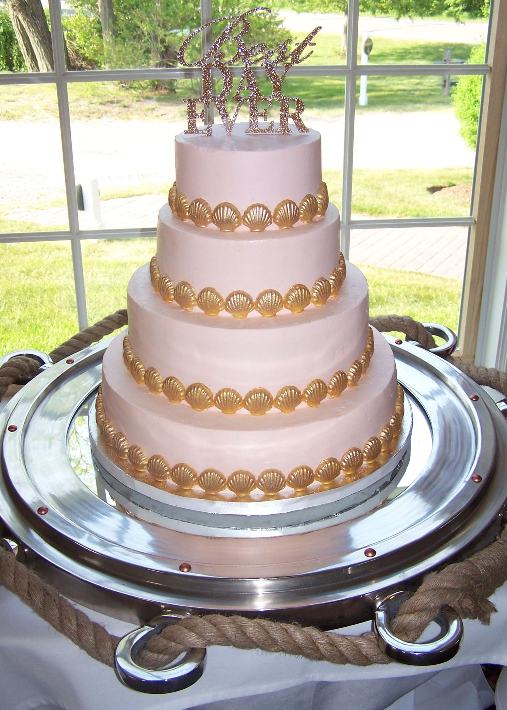 Blush  buttercream and gold shells by Kiss Me Cakes, Wellfleet, at the Captain Linnell House, Orleans, MA.