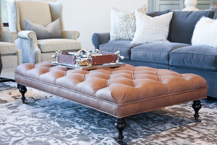 Blue Leather Grey Color Scheme Leather Ottoman Coffee Table