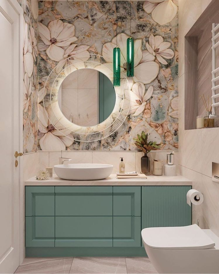 The Soft Shapes In The Accent Wall Work In Harmony With The Circular Shape Of The Mirror And So Home Room Design Bathroom Design Small Bathroom Interior Design