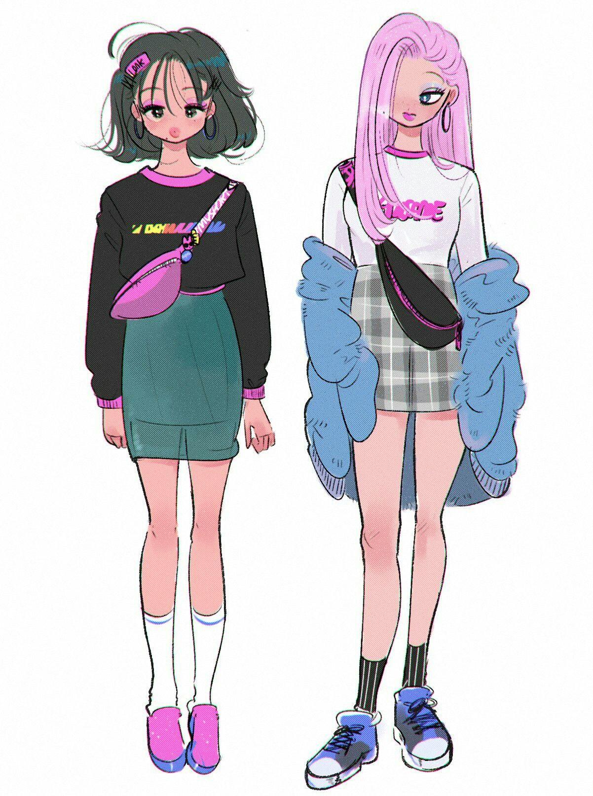 Moricky cute art styles art clothes girls illustration