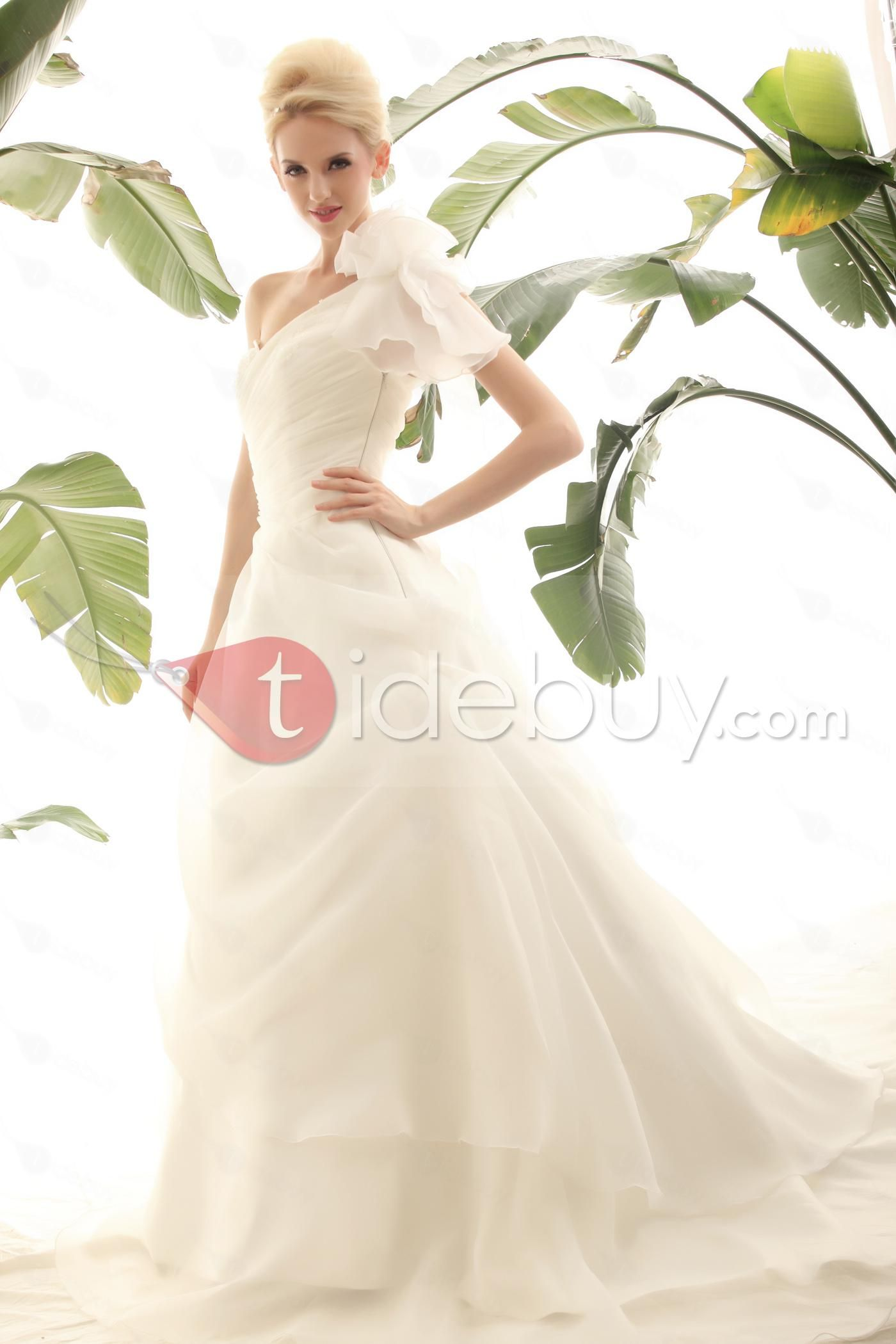 Aラインワンショルダー床まで届く長さチャペルピックアップウェディングドレス
