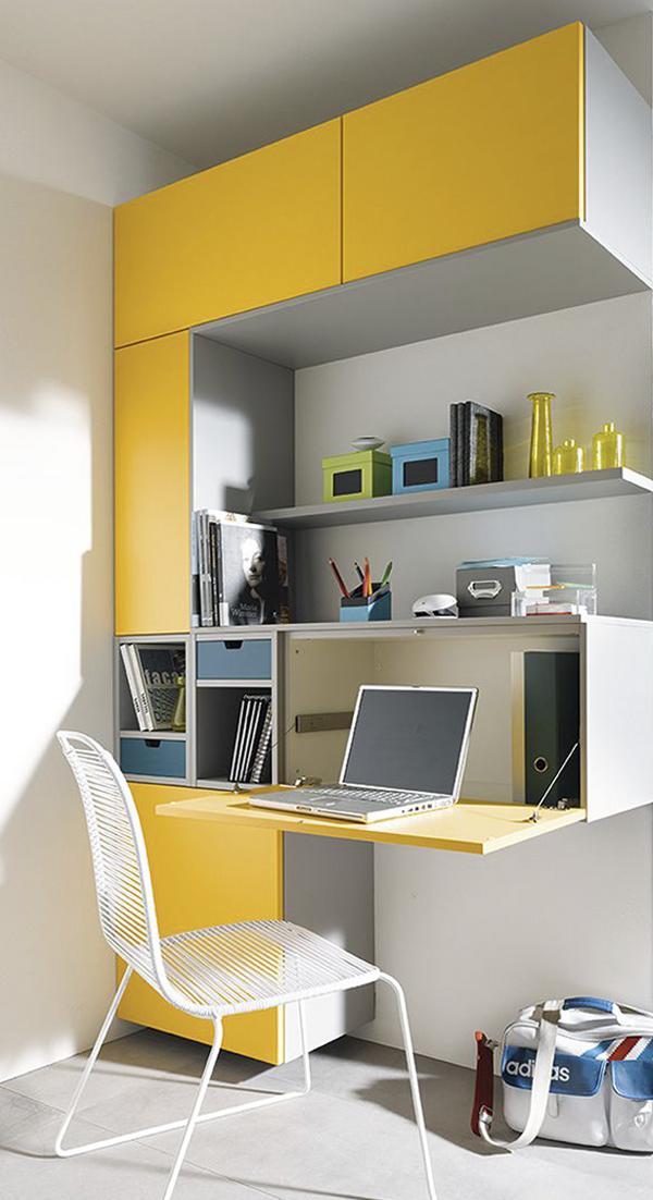 Mueble melamina amarillo y gris muebles de melamina for Escritorios para habitaciones juveniles